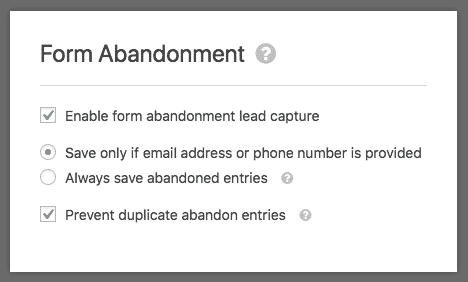 Form Abandonment