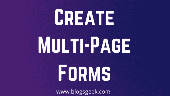 create multi-page forms in WordPress
