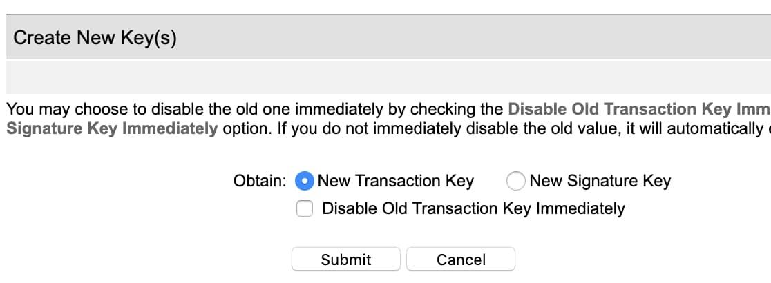 Criar nova chave de transação
