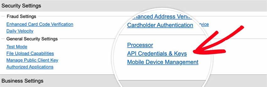 Credenciais de API aberta